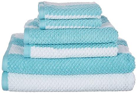 Caro Home rayas Rugby piezas algodón juego de toallas de baño