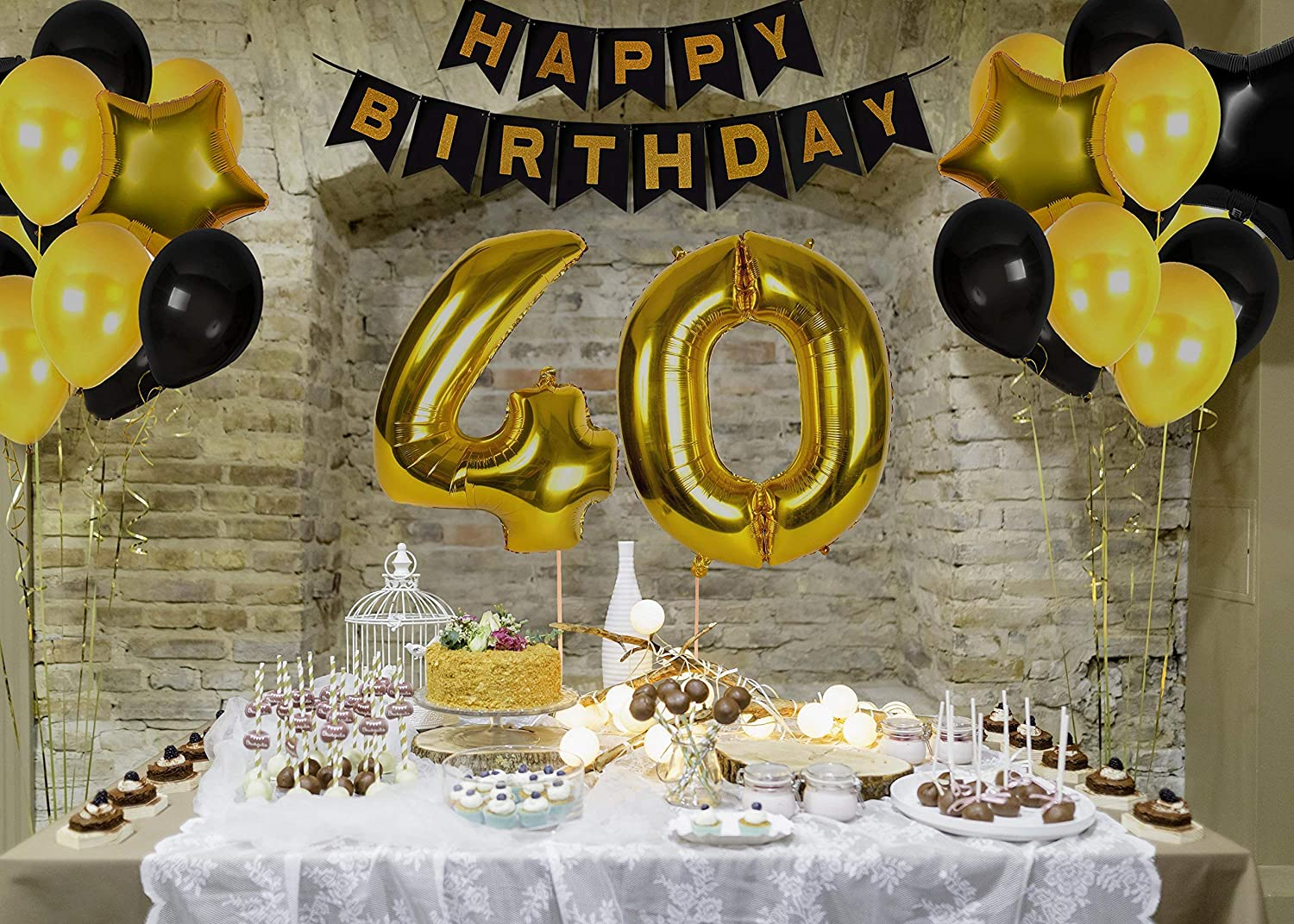 40th Birthday Decorations Ideas And Gifts For Women And Men Photo Booth Props And Happy Bday Garlands Gold Backdrop Centerpieces Party Supplies Amazon Ca Home Kitchen