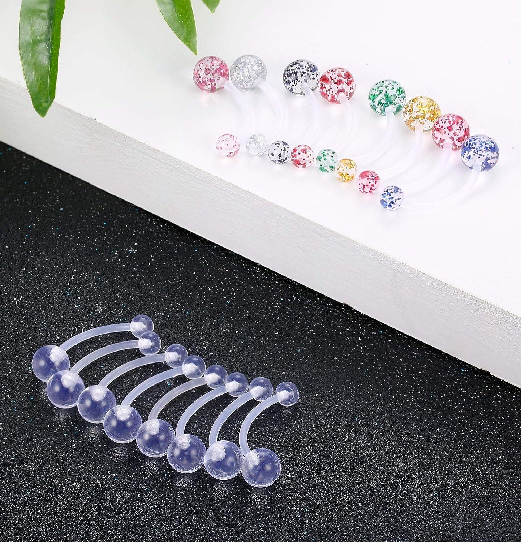 Finrezio 16 PCS 14G Acrylic Bioflex Belly Button Ring No-Metal Navel Ring Body Piercing Jewelry Flexible 12MM-18MM Bar Length