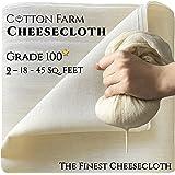 Cotton Farm - Grade 100 (The Finest) Premium Quality Cheesecloth,%100 Mediterranean Cotton, 9-18-45 Sq. Ft, Ultra Fine, Unble