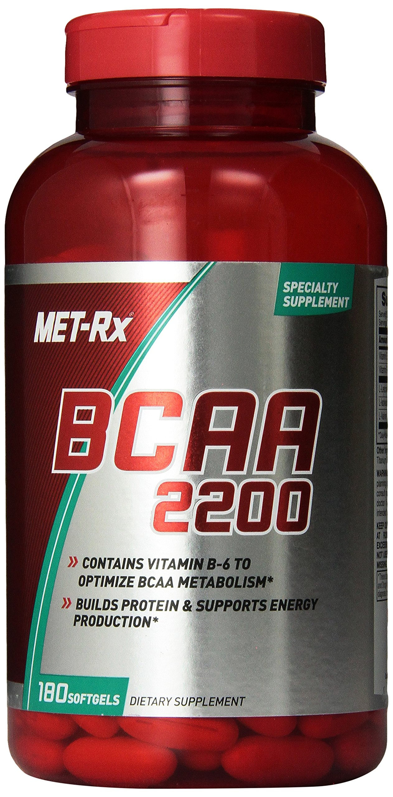 MET-Rx BCAA 2200 BCAA Supplement Dietary Supplement to Build Protein and Support Energy Production 1-180 Softgel Bottle