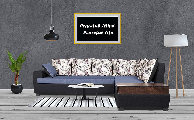 Adorn India Orlando Fabric L Shape Sofa (Black & Dark Grey)