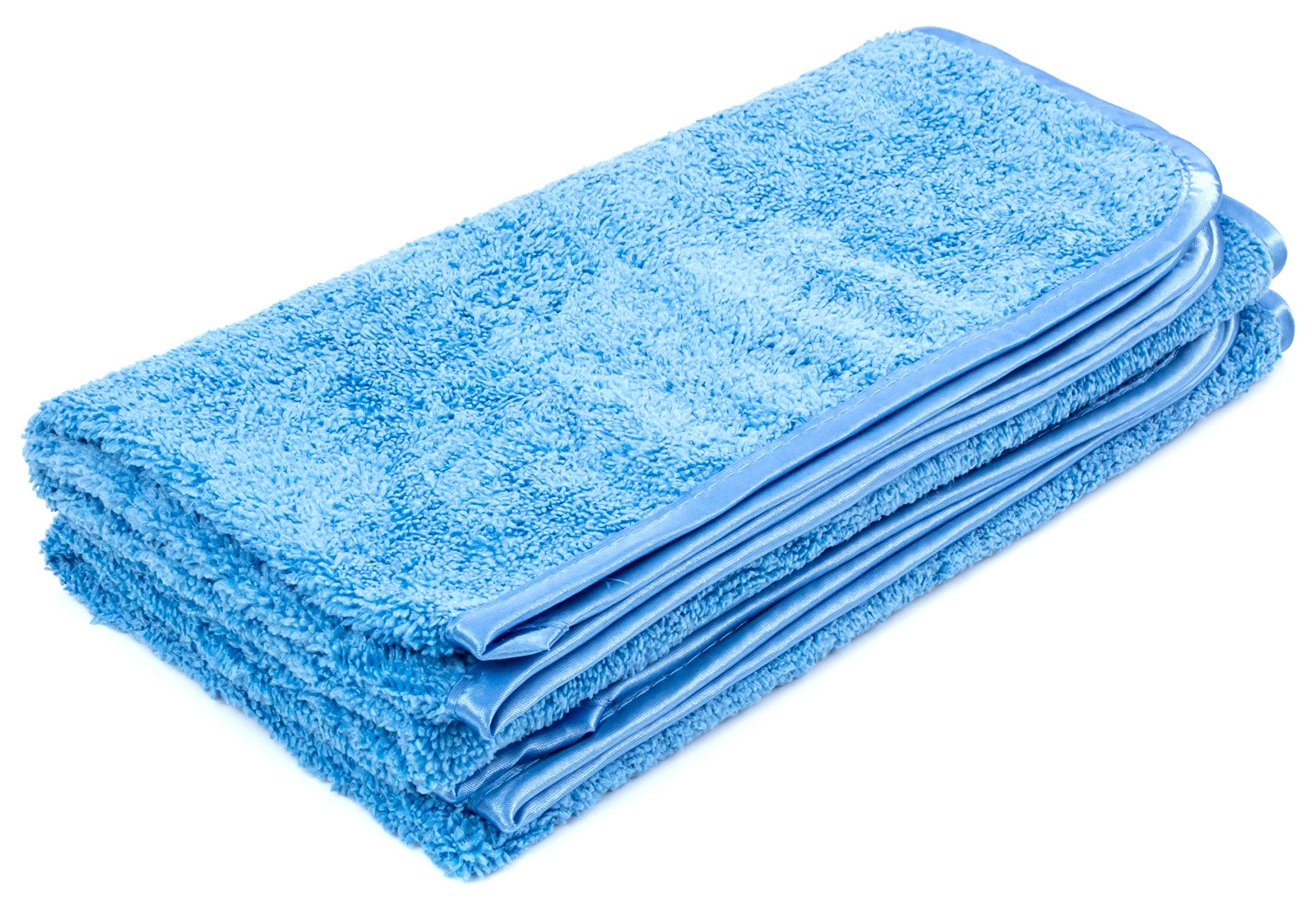 "Dry Rite Large Microfiber Professional Detail Towel- 24""x24"" Commercial Size Drying, Wax Removal Cloth, 380 GSM (Blue-2)"