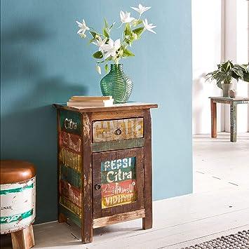 FineBuy Nachtkonsole SARUT 35x40x60cm Nachttisch Mango Massivholz  Beistelltisch | Design Nachtkommode Shabby Chic | Nachttisch mit Schublade  | ...