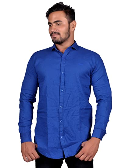 0f4707a4af HADES men s casual plain royal blue full sleeve slimfit shirt 100% cotton  casual shirts for