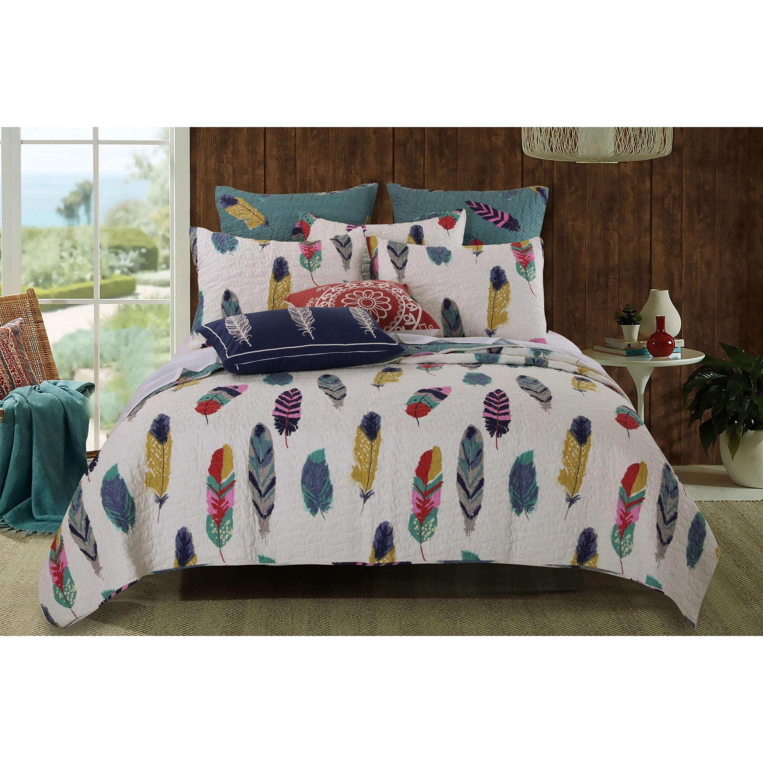3 Piece Multi Colorful Bird Feathers Quilt Full Queen Set, Elegant Dream Catcher Design, Blue Animal Motif Print Reverse Bedding, Hippy Indie Boho Chic Style, Natural Splash Colors, Cotton, Polyester