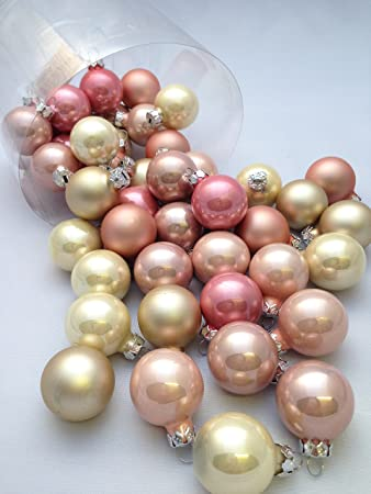 45 pc pink gold beige decorative hanging ornaments indoors glass xmas christmas tree decor ball bauble
