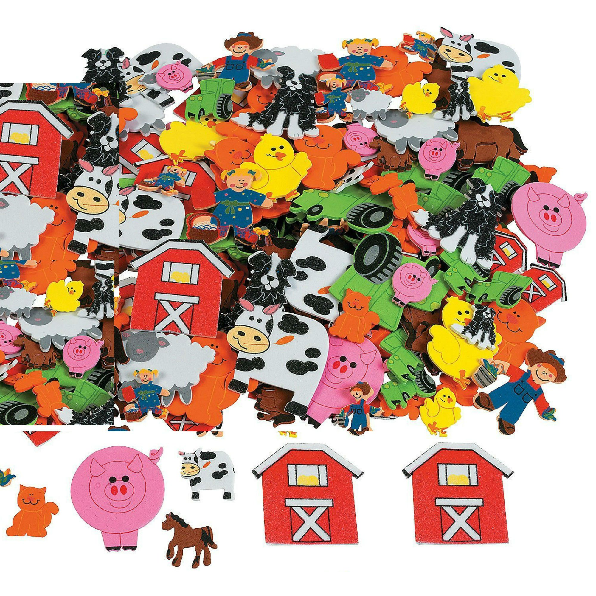 Play Kreative Foam Self-Adhesive Farm Shapes Stickers - Bulk 500 pcs - Kid's Craft Activities, Scapbooking & Card Making - Includes Animals, Barn Accessories, Tractor and more