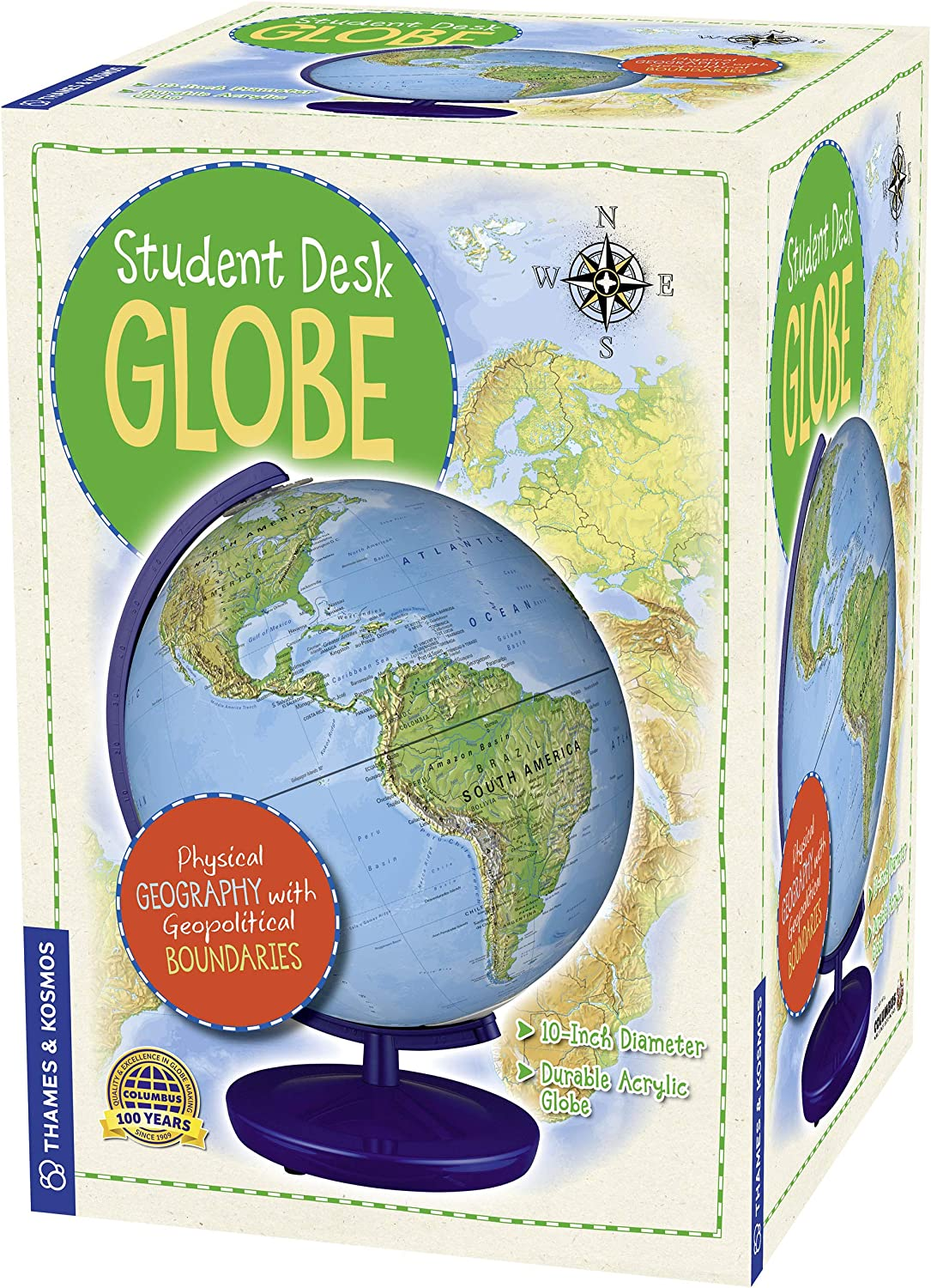 """Thames & Kosmos Student Desk Globe, 10"""" Diameter Acrylic Globe with Geopolitical Boundaries, Made in Germany by Columbus, World's Finest Globes & Maps"""