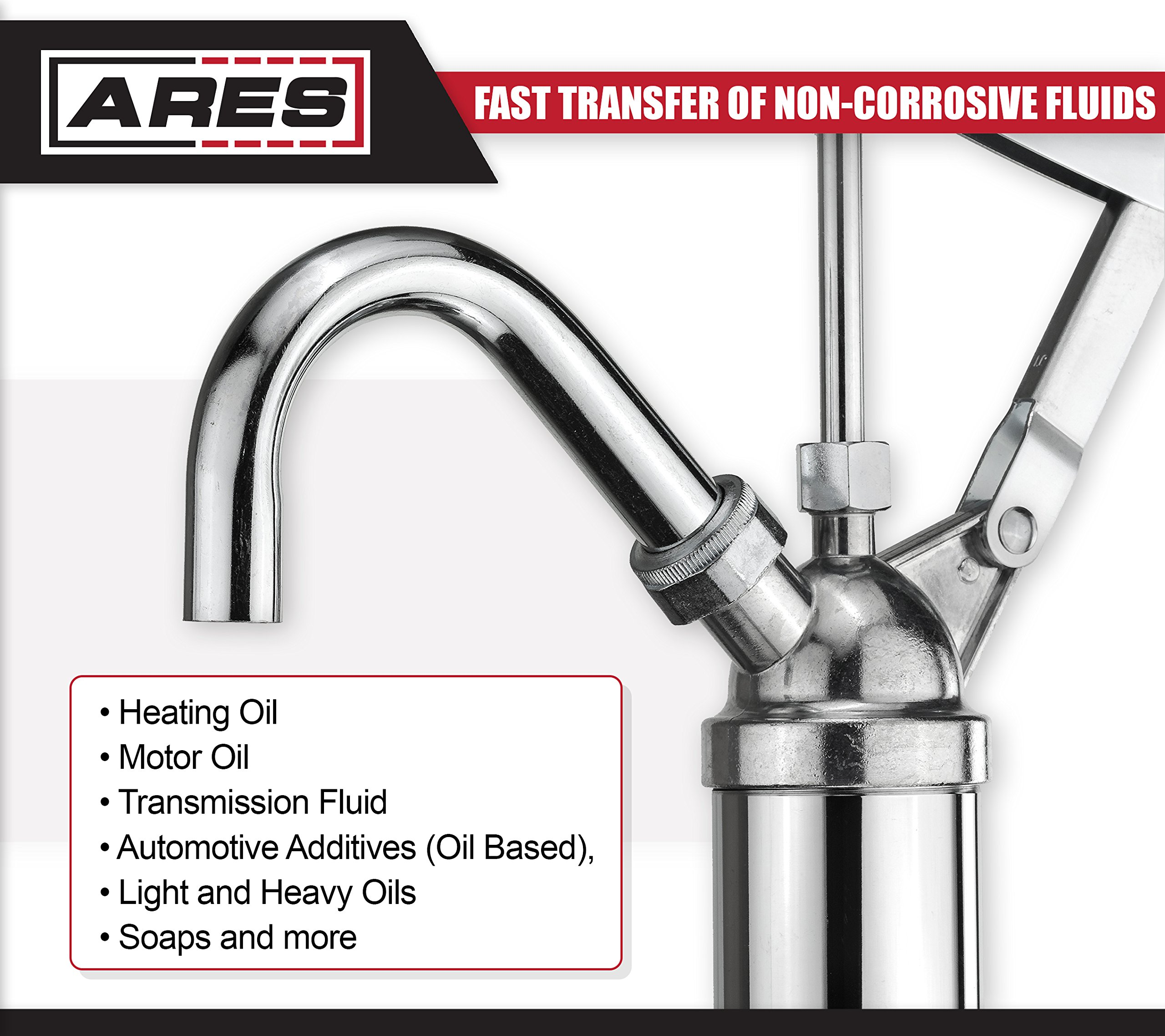 ARES 71038 | Oil Barrel Pump | 2-Piece Telescoping Suction Tube Fits 15-55 Gallon Drums | Designed to Deliver Base Oil, Transmission Oil and Heavier Fluids | Removable Spout Fits Standard Garden Hoses by ARES (Image #5)