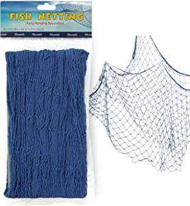 "Fish Net Decoration Party Decor – Blue Cotton Netting 48"" x 144"" Inches. Fishnet for Nautical Theme, Pirate Party, Hawaiian Party, Underwater, Beach, Ocean & Mermaid Party."