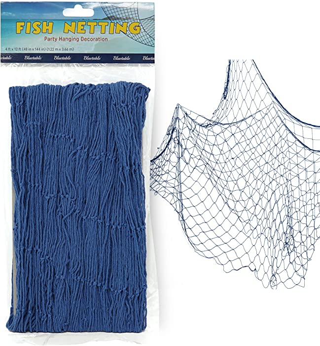 """Fish Net Decoration Party Decor – Blue Cotton Netting 48"""" x 144"""" Inches. Fishnet for Nautical Theme, Pirate Party, Hawaiian Party, Underwater, Beach, Ocean & Mermaid Party."""