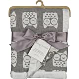 Living Textiles Muslin Textured Blanket – Grey Owl – Lightweight Double-Layered Muslin, Premium Cotton W/ Satin Trim, Soft And Breathable, Ideal Swaddling Blanket