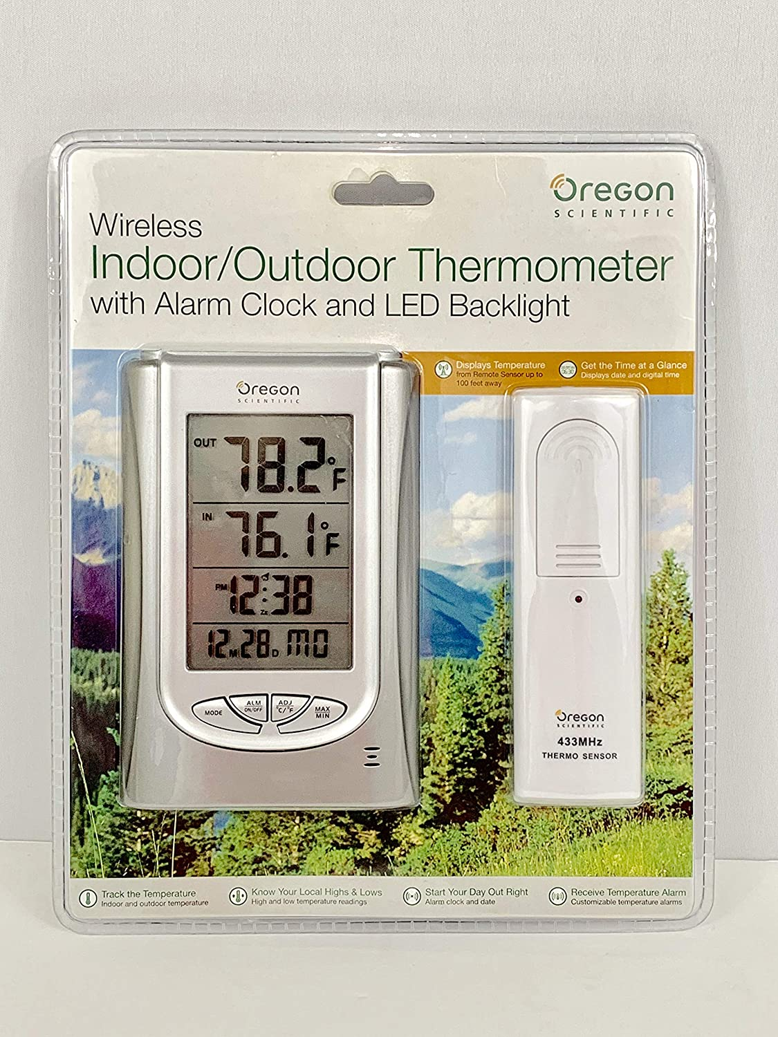 Oregon Scientific Wireless Indoor/Outdoor Thermometer with Alarm Clock and Led Backlight Silver
