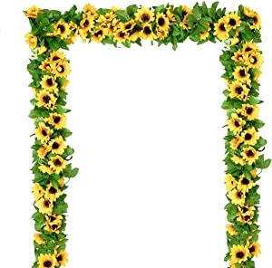 DearHouse 4 Pack Artificial Sunflower Garland Silk Sunflower Vine Artificial Flowers with Green Leaves Wedding Table Decor
