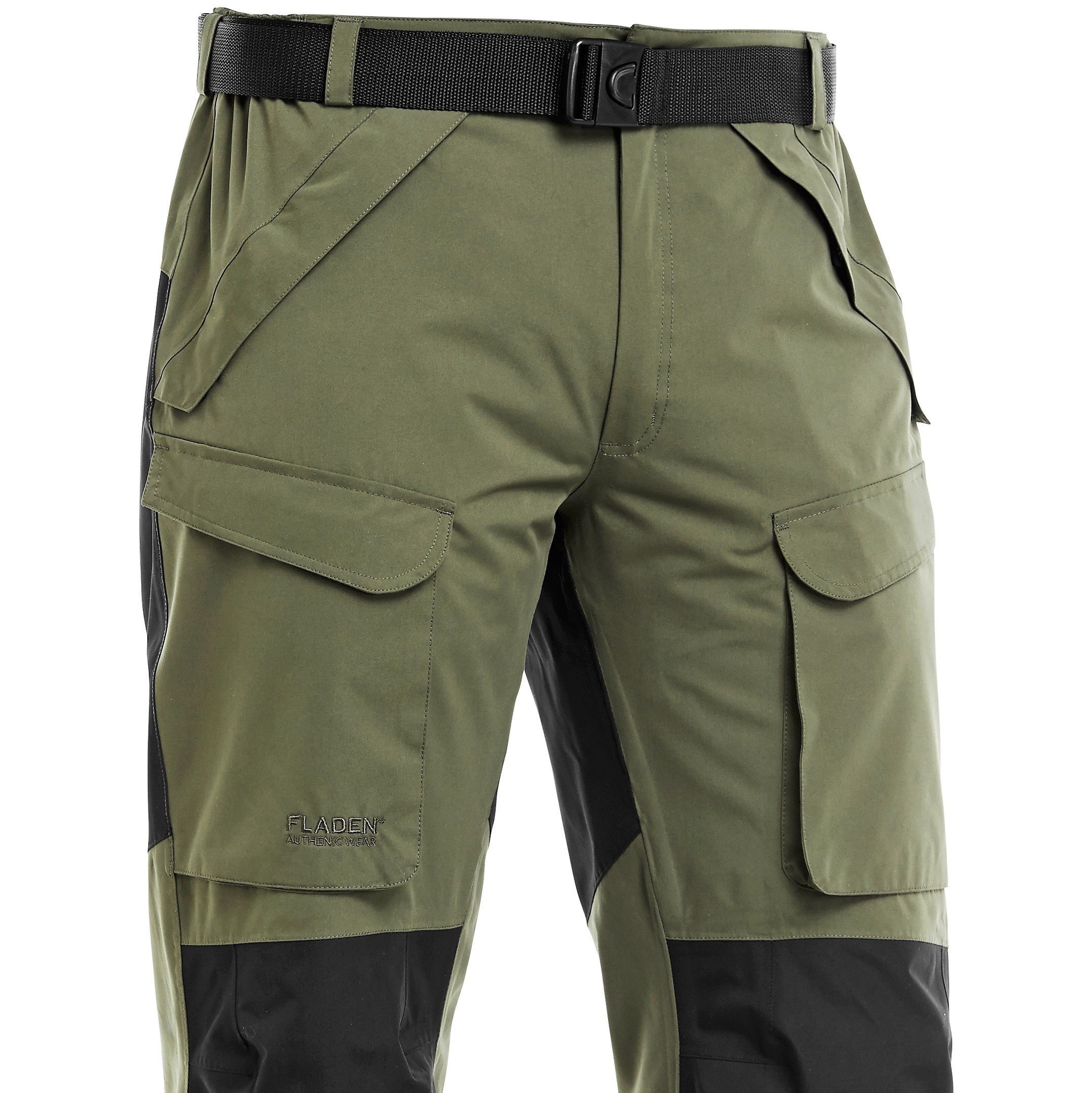 FLADEN Fishing - Authentic Wear 2.0 Fully Waterproof and Windproof Outdoor Utility Trousers - GREEN/BLACK - Ideal for Fishing, Hunting & Similar Pursuits