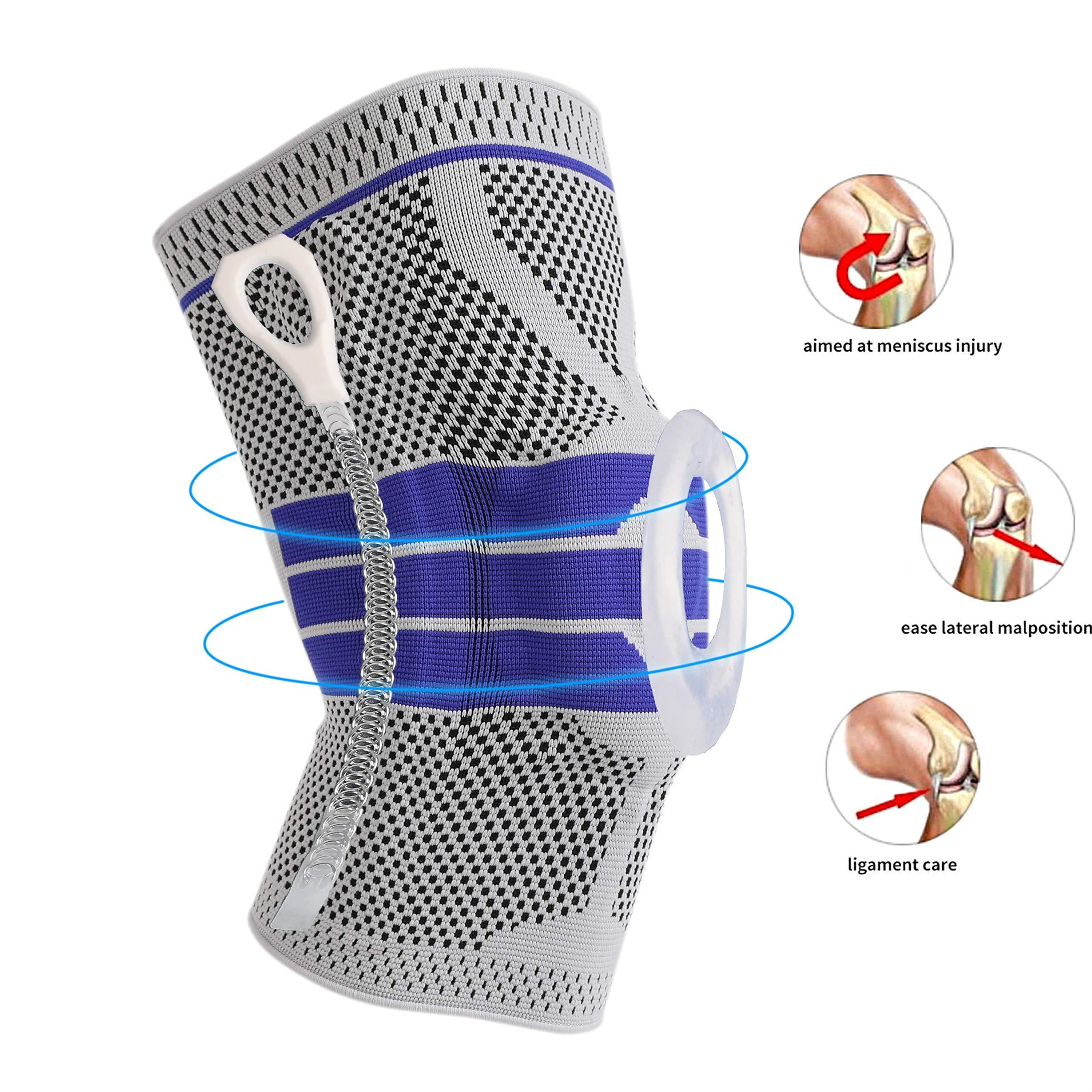 Knee Support Brace Compression Sleeves, Elastic & Adjustable Kneepad Silicon Padded Bracket/Patella Stabilizer/Warm Protector for Meniscus Tear Arthritis Pain Relief - Single Medium