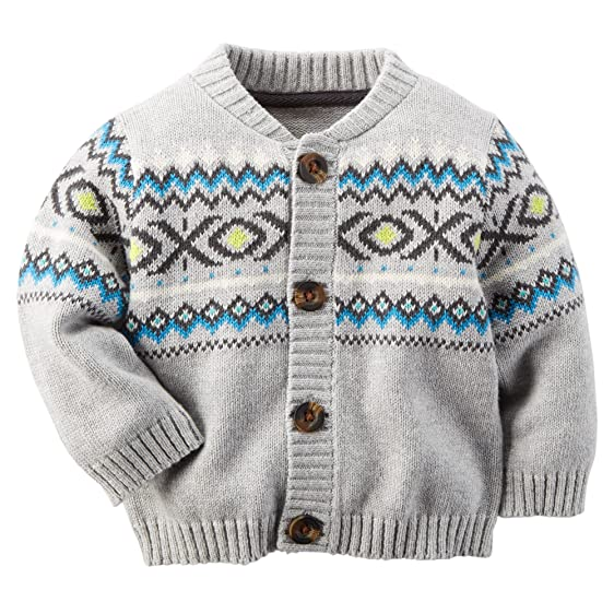 Amazon.com: Carter's Baby Boy Fair Isle Cardigan (Newborn, Grey ...