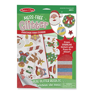 Melissa & Doug Mess-Free Glitter Christmas Stickers - 26 Foam Stickers, 8 Glitter Sheets (Great Gift for Girls and Boys - Best for 5, 6, 7, 8, 9 Year Olds and Up): Toy: Toys & Games