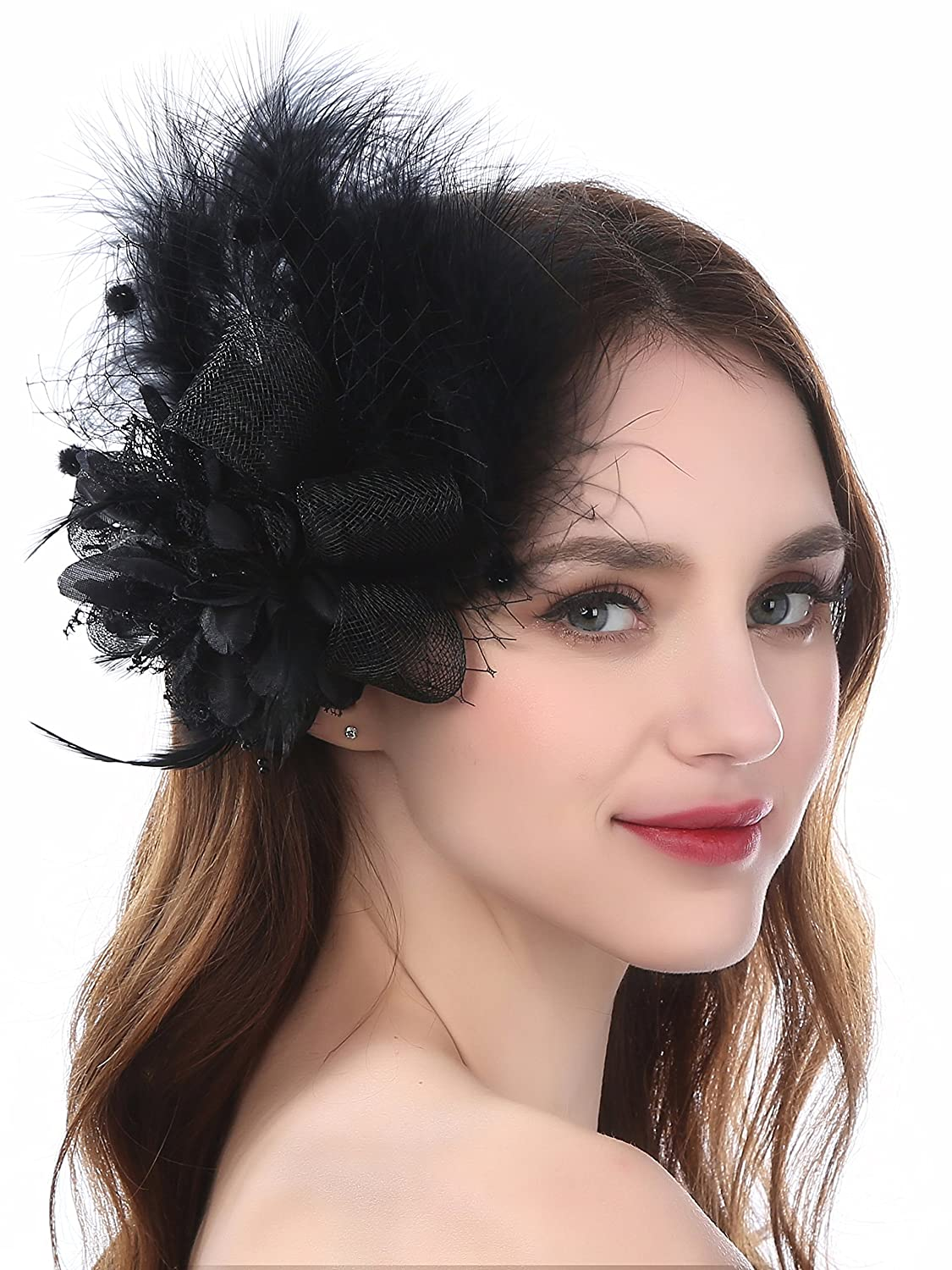 59eae811e1f Zivyes Fascinators Hat Wedding Hat Flower Mesh Feathers Tea Party Headband  Hair Clip Girls Women ZSJ924B