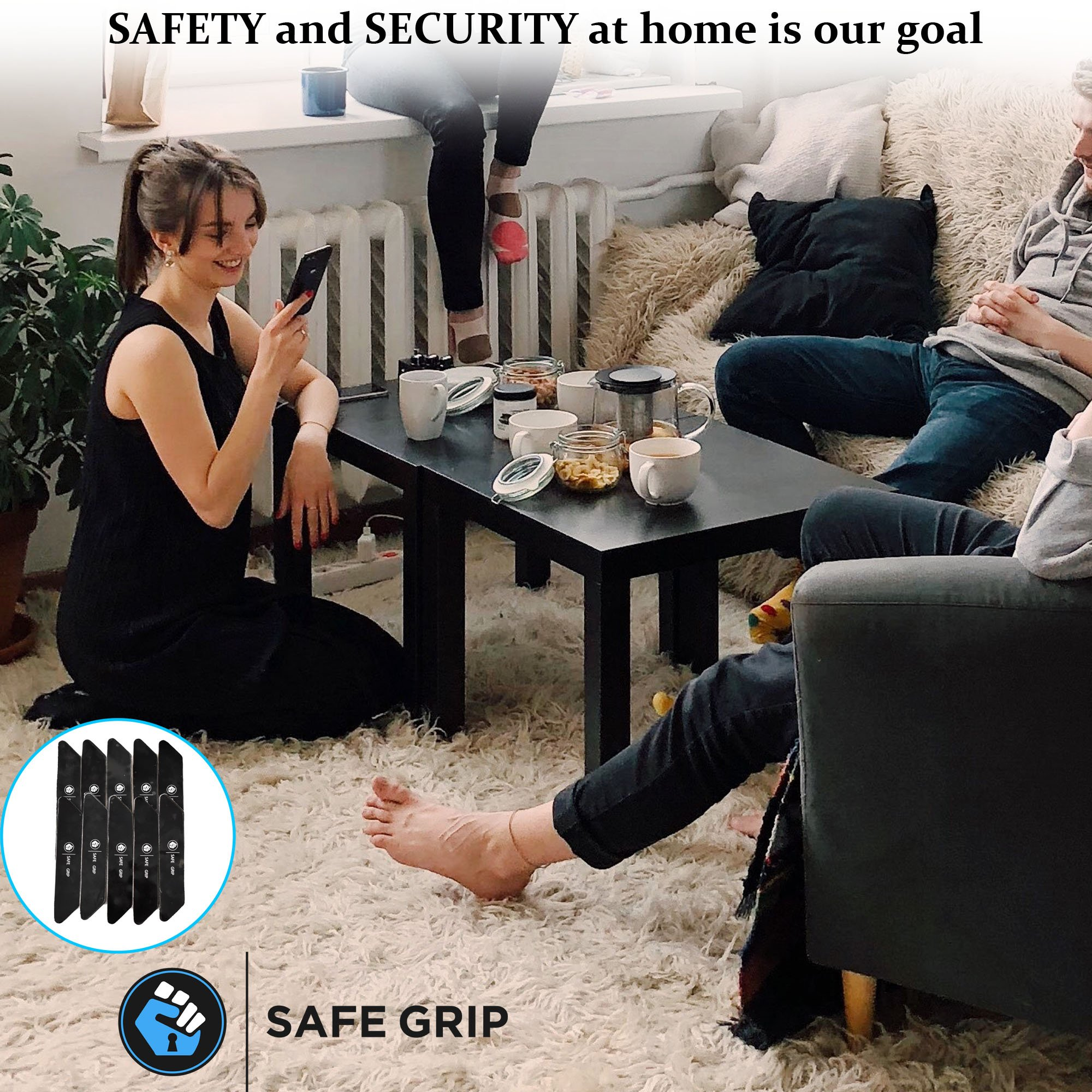Non Slip Rug Pad Grippers - Rug Gripper for Hard Floor Surfaces; Works Indoor & Outdoor Antislip Anti Skid Anti curling, Keeps Corners Edges Flat; Safer then Rug Tape by Safe Grip - Best 10 pcs pack