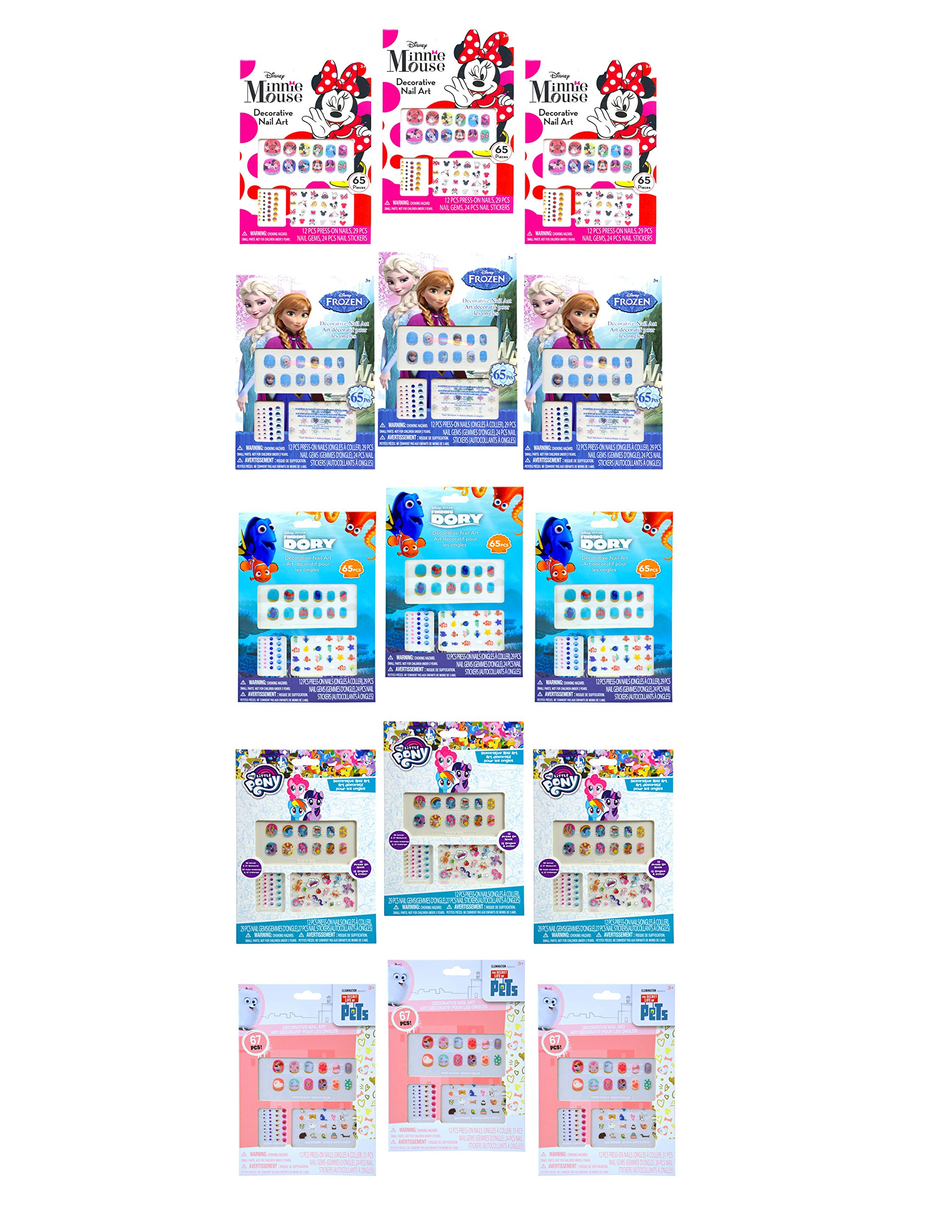15 PACK, Girls Assorted (Disney Dory, Frozen, Minnie, My Little Pony, The Secret Life of Pets) Nails Stickers & Art- Party Favors / Goody Bag