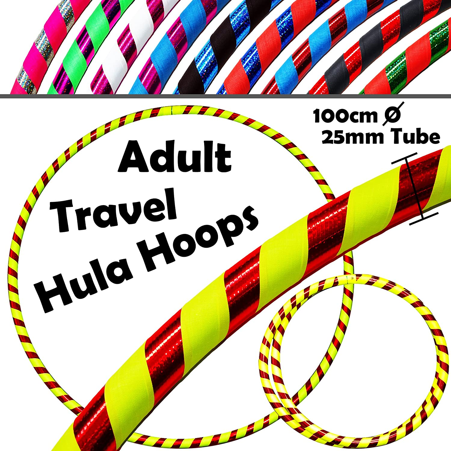 PRO Hula Hoops (Ultra-Grip/Glitter Deco) Weighted TRAVEL Hula Hoop (100cm/39') Hula Hoops For Exercise, Dance & Fitness! (640g) NO Instructions Needed - Same Day Dispatch! Flames N Games