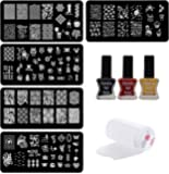 Lifestyle-You® Nail Stamping Kit with 5 Rectangular Image plates, Silicone Stamper & Scraper.