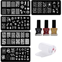 Lifestyle-You Nail Stamping Kit With 5 Rectangular Image Plates, Silicone Stamper & Scraper & Free Nail Tip Guide Sheet