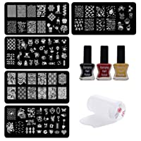 Lifestyle-You Nail Stamping Kit with 5 Rectangular Image Plates, Silicone Stamper, Scraper and Nail Tip Guide Sheet (WA27C)