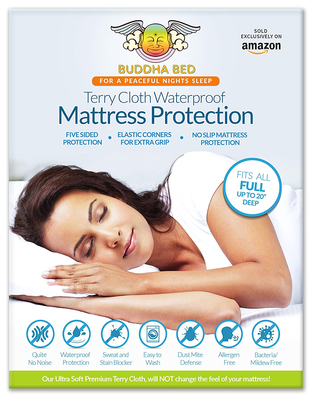 1 Full Mattress Protector Designed to Fit All Mattresses. Ultra Soft, Makes No Noise, Easy to Install and Clean. Blocks All Fluids-Sweat, Stains and Accidents. Hypoallergenic and Toxic Free Materials.