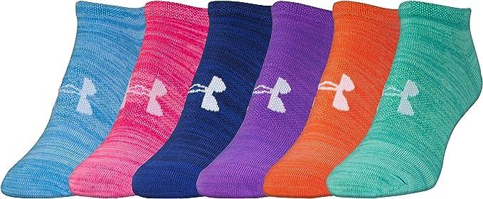 c44c58c75 Under Armour Women's Essential Twist No Show Socks (6 Pack), Bright  Assortment,