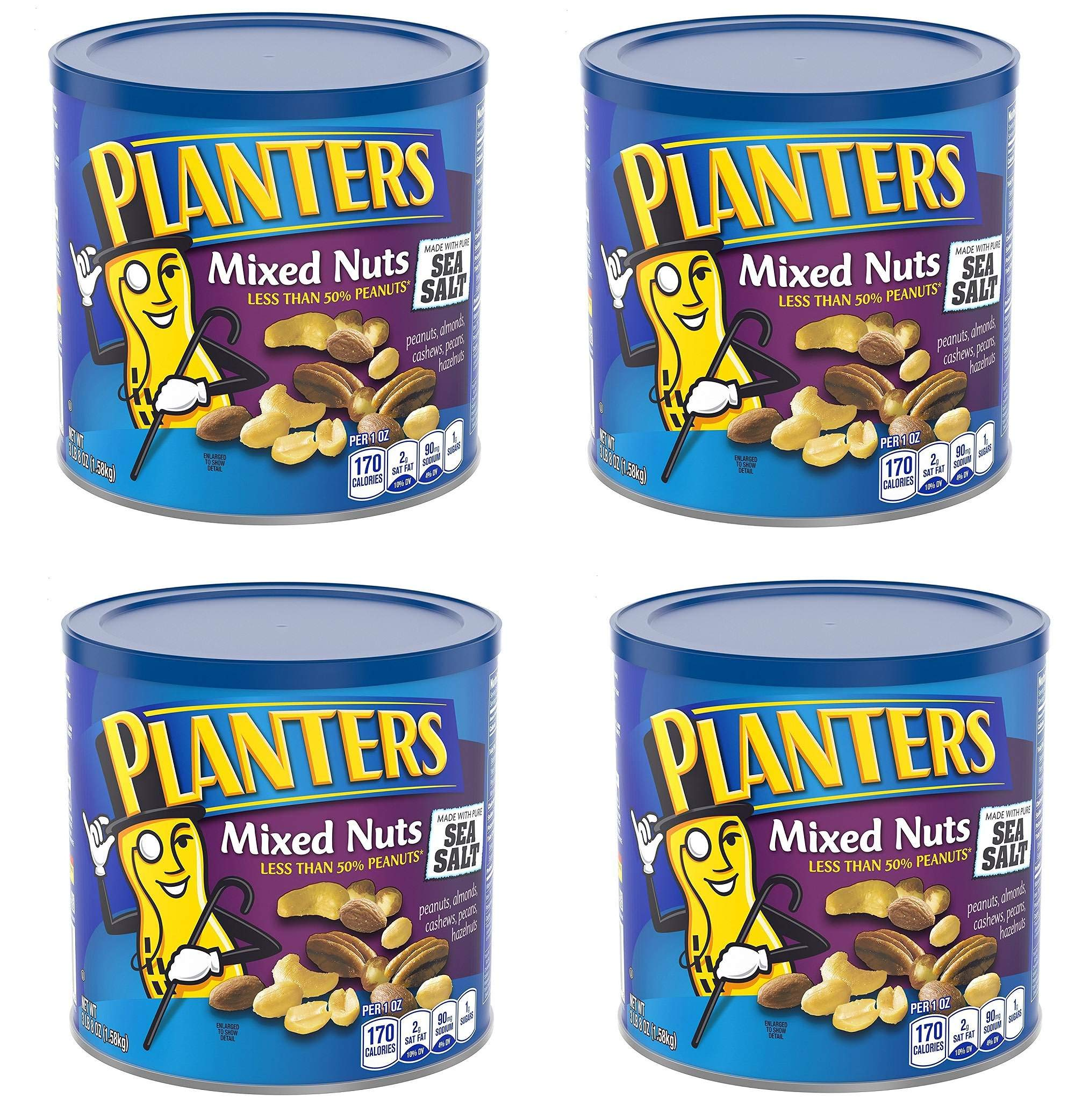 Planters Mixed Nuts, Mixed Nuts, Regular, 56 Ounce, 4 Cans