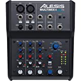 Alesis MultiMix 4 USB FX | 4 Channel Compact Studio Mixer with Built In Effects & USB Audio Interface for Home Studio Recordi