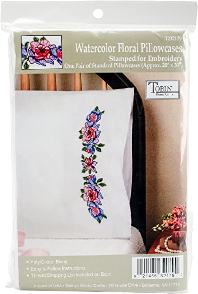 """Tobin Stamped Pillowcase Pair For Embroidery 20/""""X30/""""-Flower Cats"""