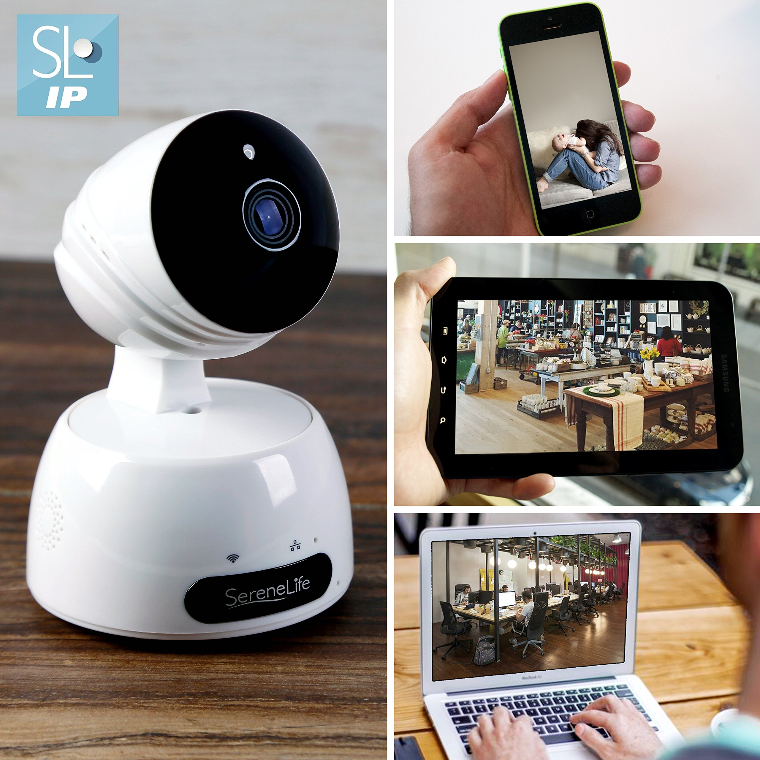 SereneLife Indoor Wireless IP Camera - HD 720p Network Security  Surveillance Home Monitoring w/Motion Detection, Night Vision, PTZ, 2 Way  Audio,
