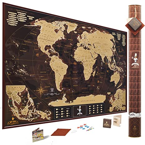 Amazon chocolate edition scratch off world map x2116 1 chocolate edition scratch off world mapx2116 1 premium extra large 35x25 inches gumiabroncs Gallery
