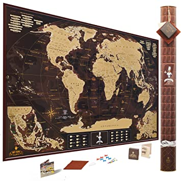 Amazon chocolate edition scratch off world map extra large chocolate edition scratch off world map extra large 35x25 inches us states outlined gumiabroncs Gallery