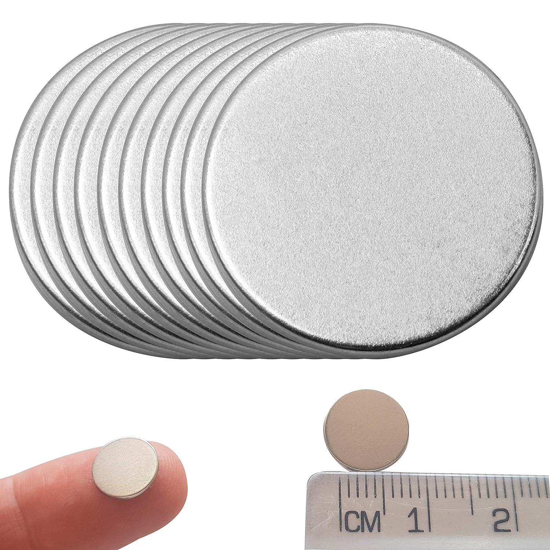 20x KLEINE NEODYM SCHEIBEN MAGNETE SELBSTKLEBEND 10,0 mm x 2,0mm N35 Nickel 1000 G STARKE MAGNETE