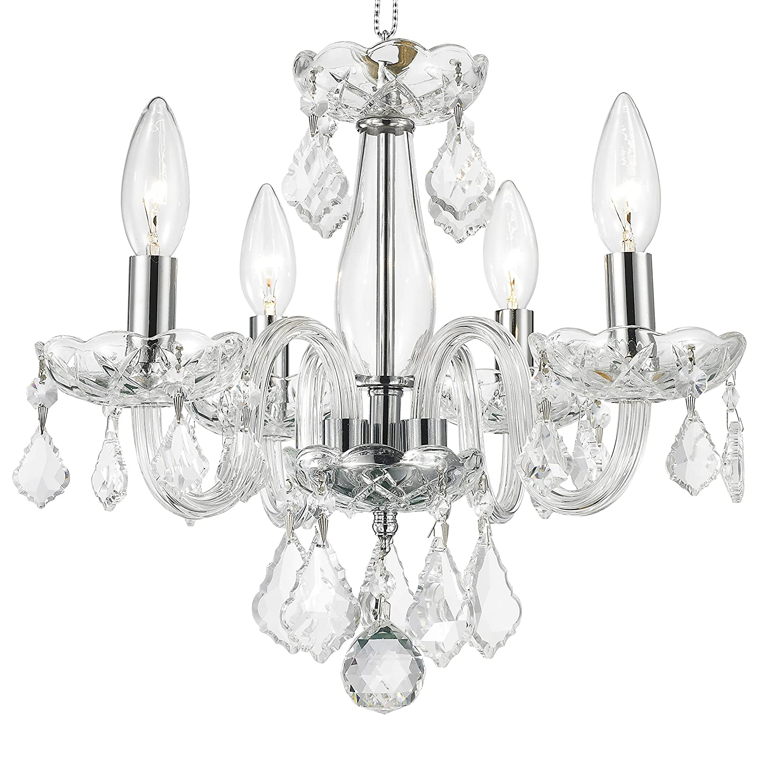 Com Worldwide Lighting W83100c16 Cl Clarion 4 Light Mini Crystal 16 D X 12 H Chrome Finish And Clear Chandelier Home Improvement