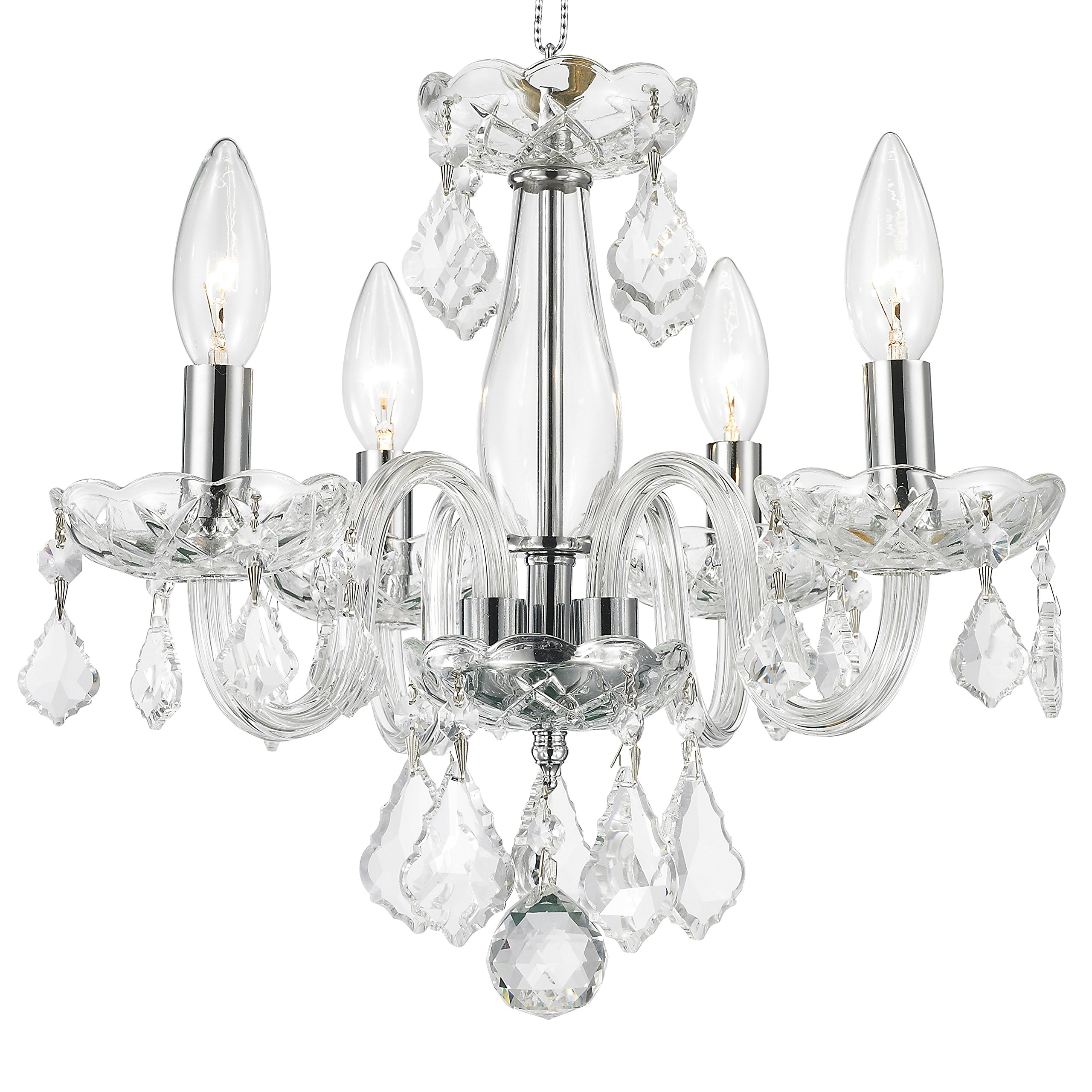 Worldwide Lighting W83100C16-CL Clarion 4 Light Mini Crystal, 16'' D x 12'' H, Chrome Finish and Clear Crystal Chandelier