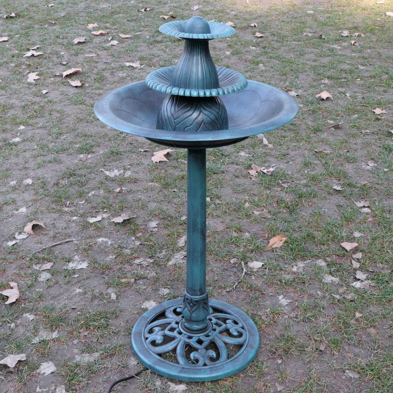 GraceShop Garden Beauty line,Backyard,Green 3 Tier Pedestal Fountain Bird Bath,Patio Decor Garden Outdoor