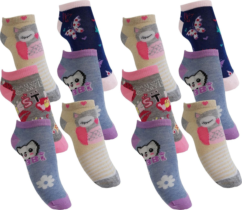 12 Paar Mädchen Sneaker Kinder Socken 95% Baumwolle bunter Mix