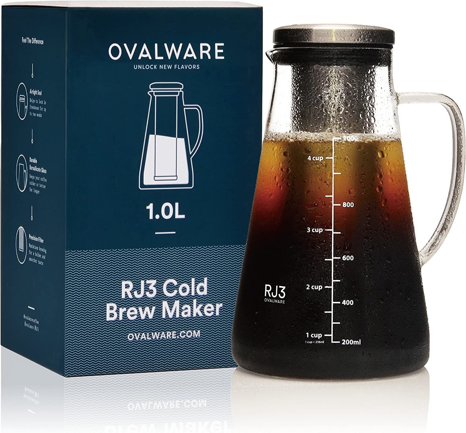 Airtight Cold Brew Iced Coffee Maker and Tea Infuser with Spout – 1.0L 34oz Ovalware RJ3 Brewing Glass Carafe with Removable Stainless Steel Filter