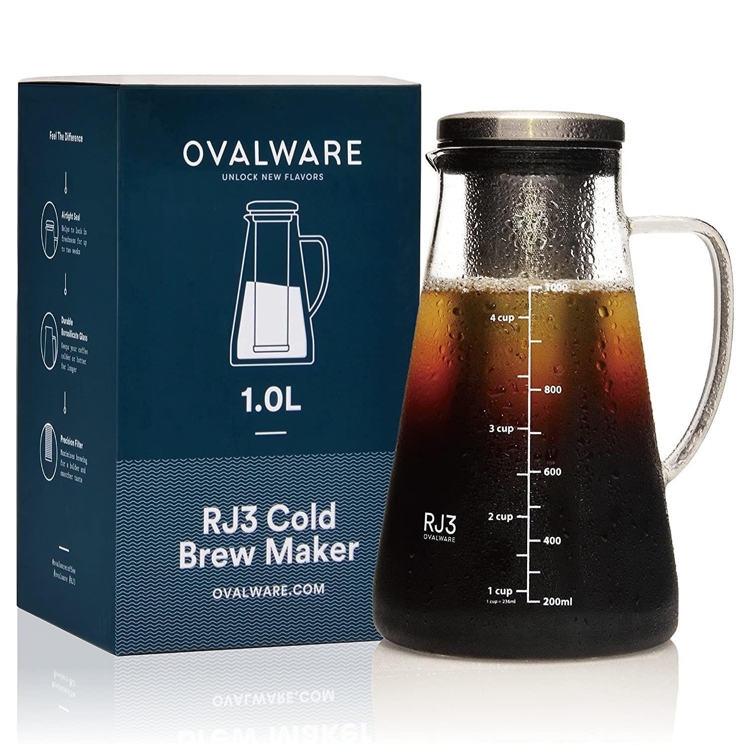 Airtight Cold Brew Iced Coffee Maker and Tea Infuser with Spout - 1.0L / 34oz Ovalware RJ3 Brewing Glass Carafe with Removable Stainless Steel Filter RJ3-02