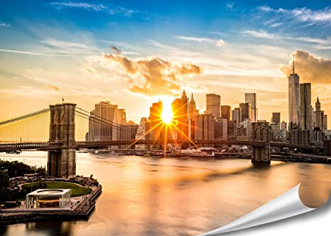 Xxl Poster New York Skyline Brooklyn Bridge 140cm X 100cm Hd Xxl Bild Wand Bild Fotoposter Manhattan Bei Sonnenuntergang Downtown East River Usa