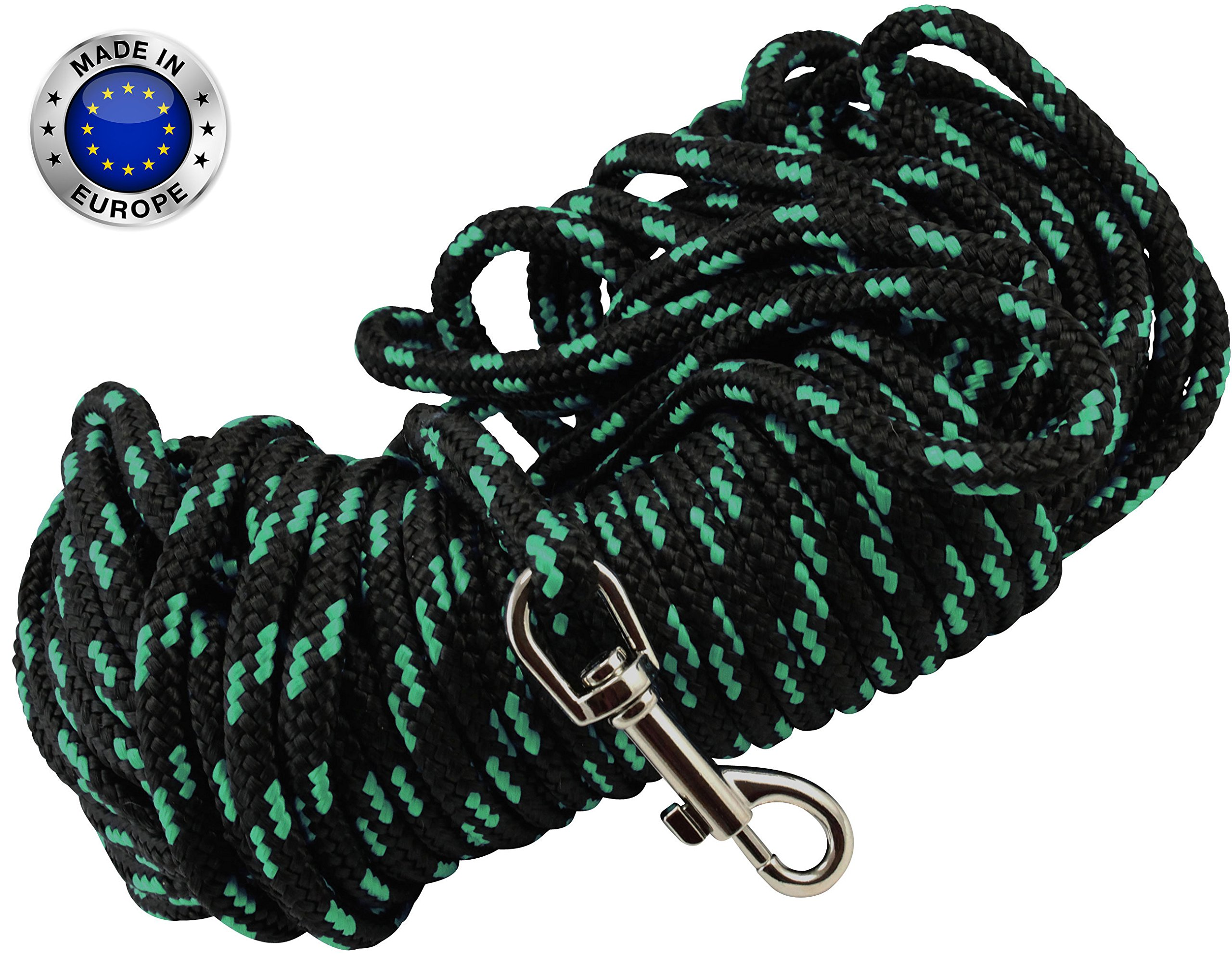 Braided Nylon Rope Tracking Dog Leash, Black with Green 15-Feet/30-Feet/45-Feet/60-Feet Training Lead for Small and Medium Dogs (60ft, Medium - Diam 3/8'' (8mm))