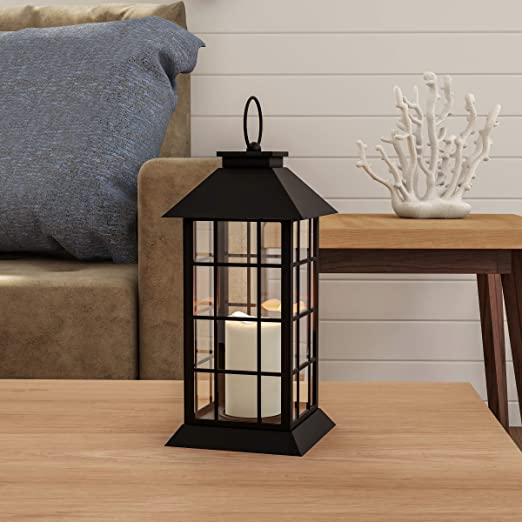 Timer Option and Batteries Included Set of 2 Flameless Black Candle Lanterns with Warm White LEDs Metal Slat Design