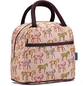 Small Insulated Lunch Bags For Women Girls Cooler Lunch Boxes For Teen Cute Resable Lunch Tote Bag For Picnic School Office Outdoor - Horse