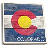 Rustic Colorado State Flag (Set of 4 Ceramic Coasters - Cork-backed, Absorbent)